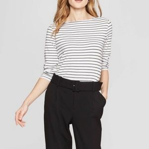 Divided stripe shirt